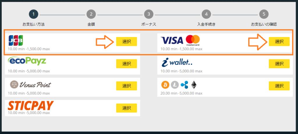 【図解】ベットティルトのクレジットカード入金まとめ!限度額や手数料も