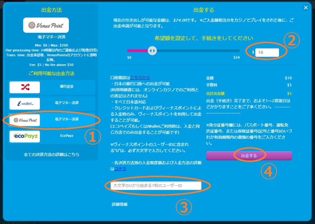 【図解】ベラジョンカジノのヴィーナスポイント入出金まとめ!限度額・手数料・反映時間も徹底解説