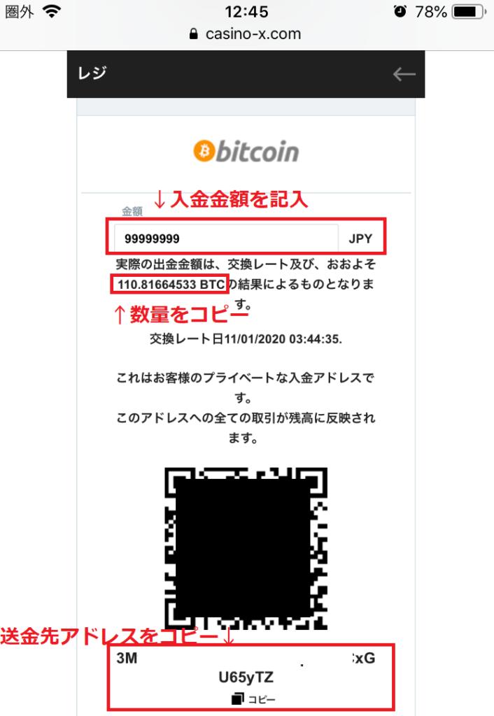 【注意】カジノエックスのビットコイン入出金手順!限度額と手数料は事前に知っておくべき
