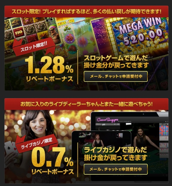 クイーンカジノのリベートボーナスもらい方!ライブカジノとスロット別に出金条件や限度額など全て解説